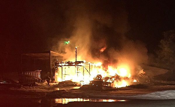 Farm shop on Higgins Loop Road is total loss.  photo courtesy DCFD#4